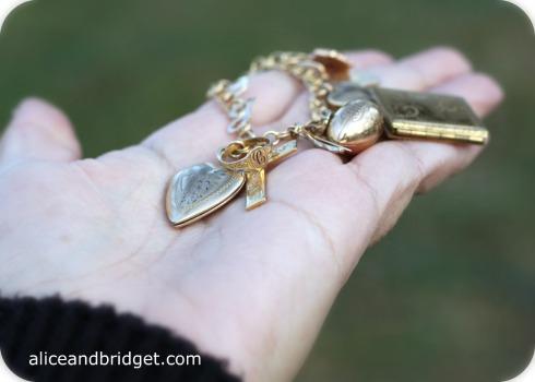 Gold Vintage Charm Bracelet Closeup
