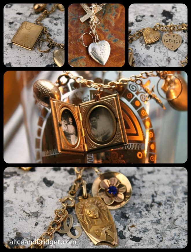 Vintage Gold Charm Bracelet Collage 2 a