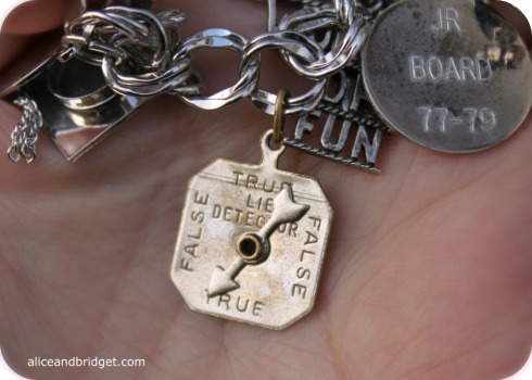 Vintage Silver True False Detector Charm